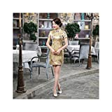 Yeenvan 16 Color Women Chinese Cheongsam Chinese Tight Bodycon Knee Dragon&Phoenix Dress,Color15,XL