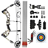 BARCHERY Compound Hunting Bow kit, Draw Length 23.5'-30.5', Draw Weight 25-70lbs, IBO Rate 320 fps, Archery Hunting Bow Package with 4pcs 30' Carbon Arrows (Camo)