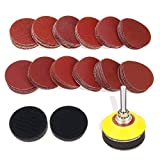 DRILLPRO 120pcs 2 Inch Sanding Discs Pad with 1/4'' Shank Backer Plate and 2pcs Sponge Cushions for Drill Grinder Rotary Tools 60-3000 Grit Sandpapers