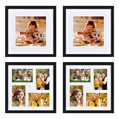 FRAMICS-4-Pack-12x12-Picture-Frames-with-4-Mats-2-Mats-Display-8x8-and-2-Mats-Display-4x6-Photos-Black-Picture-Frames-Made-of-Solid-Wood-for-Wall-Mounting-or-Table-Top
