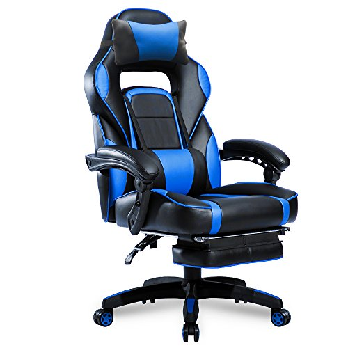Merax Racing Desk Gaming Ergonomic Footrest and Adjustable Armrests Home Office Computer Chair ((Blue)