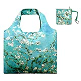 Reusable Grocery Bags with Zipper Closure and Zipper Pouch Washable Foldable Tote Shopping Bags for Women Girls Outdoor Nylon Waterproof Large Shopping Cloth Bag Apricot Tree Printing