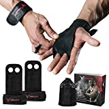 PHERAL FIT Natural Leather Hand Grips - Gymnastics Grips Wrist Support Crossfit, WODs, Pull Ups, Chin Ups, Kettlebels Weight Lifting (Black, Large - 4.3' to 5' Palm)