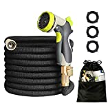 HOMEERR 50ft Garden Hose Expandable Leak-Proof Water Hose with Double Latex Core, 3/4' Solid Brass Fittings, Extra Strength Fabric with Metal 8 Function Spray Nozzle for Garden Watering Car Washing