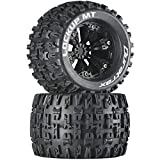 Duratrax Lockup MT 3.8' RC Monster Truck Tires with Foam Inserts, CS Sport Compound, Mounted On 1/2' Offset Black Wheels (Set of 2)