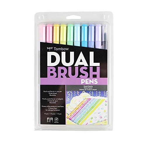 Tombow Dual Brush Pen Art Markers 10-Pack, Pastel
