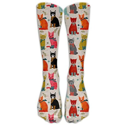 FUNINDIY Cat Ladies Compression Socks Soccer Socks High Socks Long Socks for Running,Medical,Athletic,Edema,Diabetic,Varicose Veins,Travel,Pregnancy,Shin Splints,Nursing.