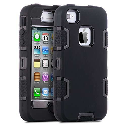 ULAK iPhone 4 Case,iPhone 4S Case, Knox Armor Shockproof Heavy Duty Combo Hybrid Defender High Impact Body Rugged Hard PC & Silicone Case Protective Cover for Apple iPhone 4 4S (Black/Black)
