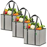 Reusable Grocery Shopping Box Bags (3 Pack - Gray). Large, Premium Quality Heavy Duty Tote Bag Set with Extra Long Handles & Reinforced Bottom. Foldable, Collapsible, Durable and Eco Friendly