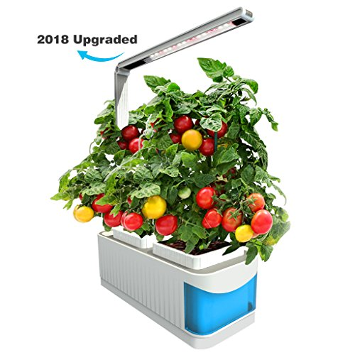 Finether Hydroponic Growing System Kit with LED Grow Light,2 Gardening Pots,360 Degree Adjustable Arm,Low Water Alarm,Sensitive Touch Control for Home,Indoor,Kitchen,Plants,Herbs,Blue(2018 Advanced)