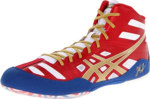 ASICS Men's JB Elite Wrestling Shoe,True Red/Olympic Gold/White,9.5 M US/42 EU