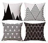 BLUETTEK Modern Simple Geometric Style Soft Linen Burlap Square Throw Pillow Covers, 18 x 18 Inches, Set of 4 (Black)