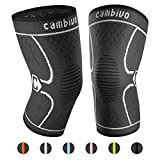 CAMBIVO 2 Pack Knee Brace, Knee Compression Sleeve Support for Running, Arthritis, ACL, Meniscus Tear, Sports, Joint Pain Relief and Injury Recovery(FDA Approved) (X-Large (21'' - 23''), Black/Gray)