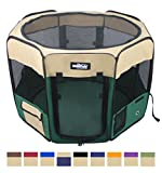 EliteField 2-Door Soft Pet Playpen, Exercise Pen, Multiple Sizes and Colors Available for Dogs, Cats and Other Pets (48' x 48' x 32'H, Brown+Beige)