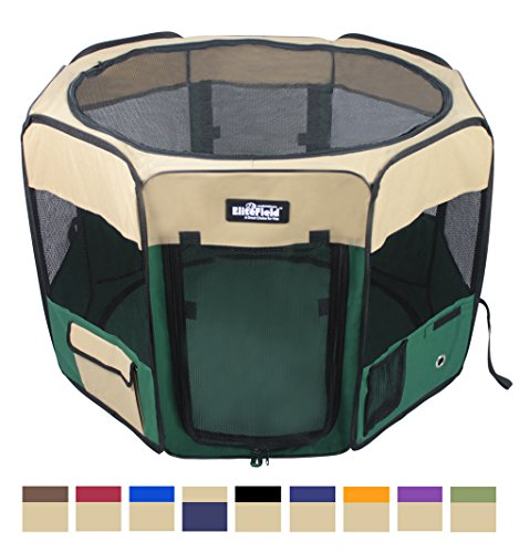 EliteField 2-Door Soft Pet Playpen, Exercise Pen, Multiple Sizes and Colors Available for Dogs, Cats and Other Pets (48' x 48' x 32'H, Beige+Green)