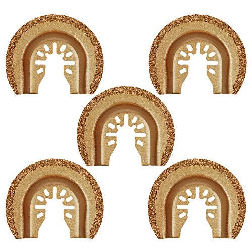 HIFROM Carbide Rasp Grout Removal Blade,2-1/2-Inch Multi Tool Semi-Round Flush Cut Universal OscillatingSaw Blade (Pack of 5)
