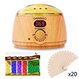 Wax Warmer GEARGO Hair Removal Waxing Kit, Wooden Electric Wax Heater Pot with LCD Display 5 Flavor Wax Beans and 20 Wax Applicator Stickers for Rapid Waxing Home Salon