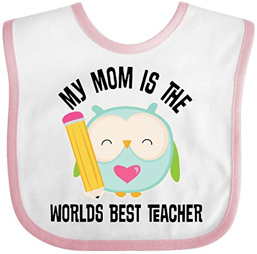 Inktastic - Teacher Mom School Owl Baby Bib White/Pink