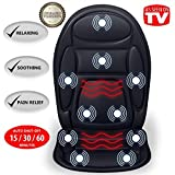 Gideon Seat Cushion Vibrating Back Massager for Body, Shoulder and Thighs with Heat Therapy/Electric Body Massage for Chair; Relax, Sooth and Relieve Thigh, Shoulder and Back Pain [Upgraded]