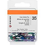 SINGER 00294 Metallic-Coated Safety Pins, Assorted Colors and Sizes, 35-Count