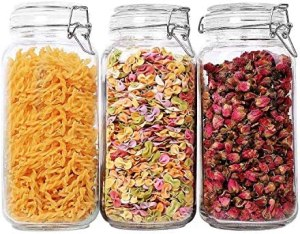 ComSaf Airtight Glass Canister Set of 3 with Lids 78oz Food Storage Jar Square – Storage Container with Clear Preserving Seal Wire Clip Fastening for Kitchen Canning Cereal,Pasta,Sugar,Beans,Spice