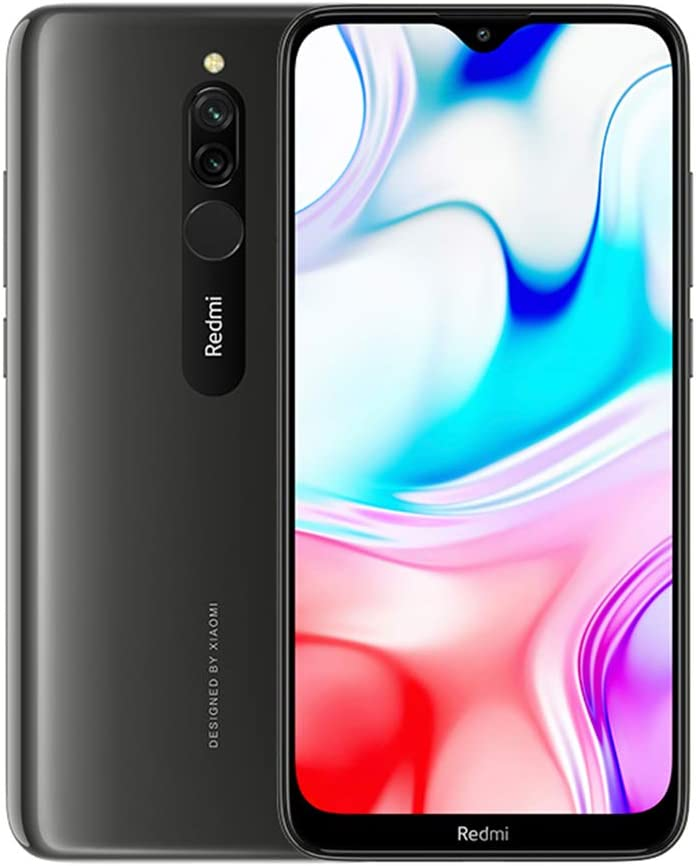 "Xiaomi Redmi 8 Teléfono 3GB RAM + 32GB ROM, Pantalla de Caída de Puntos de 6.22"", Procesador Snapdragon 439 Octa-Core, Cámara Frontal Dual de 8MP y Cámara Trasera Dual AI de 12MP + 2MP (Negro)"