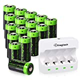 Rechargeable Arlo Batteries CR123A Lithium Batteries 16Pack with Charger 3.7V 750mAh with PTC Protection for Arlo Cameras VMC3030 VMK3200 VMS3330 3430 3530 Flashlight Security System