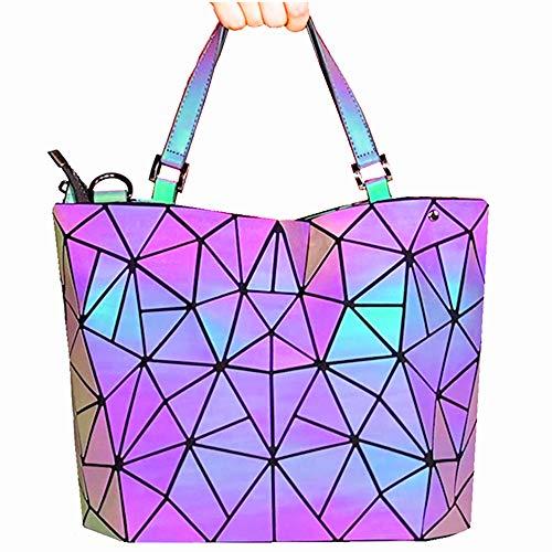 HotOne Geometric Luminous Purses and Handbags Shard Lattice Eco-friendly Leather Holographic Purse(Luminous)
