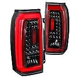 For GMC Yukon XL SUV Clear LED Jet Black Tail Lights Rear Brake Lamps Left+Right