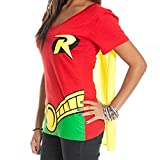 DC Comics Robin Juniors Red V-neck Cape Tee, Red, XX-Large