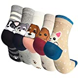 IMAXSELL 5 Pairs Womens Novelty Cute Pet Animal Print Pattern Design Cartoon Cotton Colorful Casual Comfortable Crew Socks, 5 Pairs-style 2, One Size