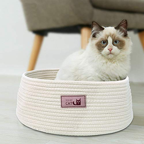 Round-Cat-Bed-Basket-Nest-Cotton-Rope-Woven-Warm-Medium-Pet-Sleeping-Bed-House-Nesting-Rest-Cute-Fun-Scratcher-Scratching-Scratch-Mat-Pad-Puppy-Small-Dogs-Indoor-Play-Eco-Washable-Winter-Summer-Beige