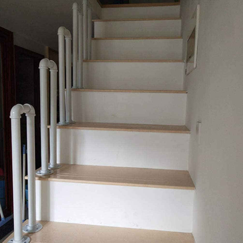 Amazon Com White Wrought Iron Stair Railing U Shaped Galvanized   Installing Wrought Iron Railings On Stairs   Railing Kits   Concrete Steps   Iron Balusters   Outdoor Stair   Stair Spindles
