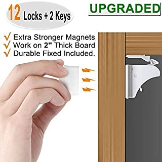 Baby Proofing Magnetic Cabinet Locks Child Safety - VMAISI 12 Pack Children Proof Cupboard Baby Locks Latches with Adhesive for Cabinet & Drawers with Screws Durable Fixed. magnetic cabinet locks Cabinet Locks Child Safety Baby Proofing Cabinets ...