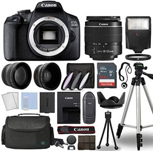 Canon EOS 2000D / Rebel T7 Digital SLR Camera Body w/Canon EF-S 18-55mm f/3.5-5.6 Lens 3 Lens DSLR Kit Bundled with Complete Accessory Bundle + 64GB + Flash + Case & More – International Model