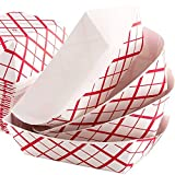 Food boats , Grease Resistant 2 Lb Paper Food Trays 50 Pack. Durable, Carnival Party Supplies Ideal for Festival, Carnival and Concession Stand Treats Like Hot Dogs, Ice Cream, Popcorn and Nachos.
