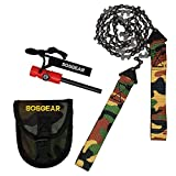 SOS Gear Pocket Chainsaw and Fire Starter - Survival Kit with Hand Saw in Camo Embroidered Pouch,...