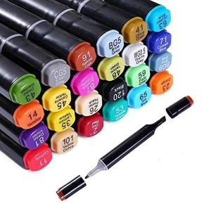 24 Colors Alcohol Dual Tip Art Markers, Permanent Marker Pen Highlighter, Suitable for Beginners Adult Children Coloring…