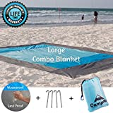 CampMe Large Beach Blanket Sand Proof And Waterproof Combined - Outdoor Beach Mat/Sand Mat/Sand Free/Waterproof/SandFree - Fast Dry, Machine Washable, Strong Nylon, 79'X86', 4 Metal Stakes
