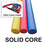 Oodles of Noodles 3 Pack 60 Inch x 2.75 Inch Extra Long Foam Noodle Multi-Purpose - Assorted Colors with Sling Chair