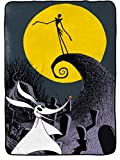 Disney Nightmare Before Christmas Moonlight Madness Blanket - Measures 62 x 90 inches, Kids Bedding Features Jack Skellington & Zero - Fade Resistant Super Soft Fleece - (Official Disney Product)