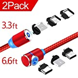 Magnetic Phone Charging Cable, 3 in 1 Cable(2 Pack,3.3 ft Straight Cable, 6.6 ft L Shape Cable) Red