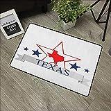Square Door mat W31 x L47 INCH Texas Star,San Antonio Dallas Houston Austin Map with Stars Pattern USA, Navy Blue Vermilion Pale Grey with Non-Slip Backing Door Mat Carpet