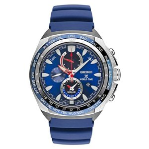 Seiko Men's Prospex World Time Solar Chronograph Watch with Power Reserve