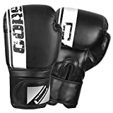 CORE SPORTS Boxing Gloves for Men & Women Training Sparring Kickboxing Leather UFC MMA Muay Thai Pro Punching Fight Heavy Bag Mitts (Black, 16oz)
