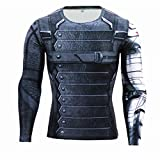 HIMIC E77C Hot Movie Super Hero Quick-Drying ElasticT-Shirt Costume (Large, Winter Soldier Long Sleeve)