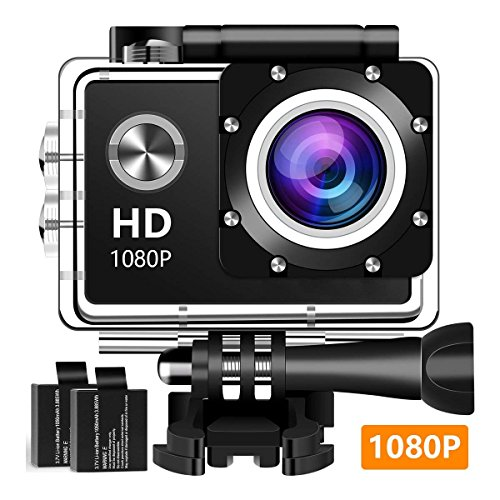 Action Camera Sport Camera 1080P Full HD Waterproof Underwater Camera Davola with 140° Wide-Angle Lens 12MP 2 Rechargeable Batteries and Mounting Accessories Kit – Black09