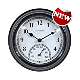 Large Wall Clock Indoor Outdoor Battery Powered Analog with Clock Thermometer, Quick Delivery