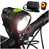 Bright Eyes 1800 Lumen Bicycle Light Set - The Stamina - Super Bright Headlight w/Quad Cree Technology and Light Weight Military Grade Nylon Shell-Free USB Rechargeable Taillight for a Limited Time