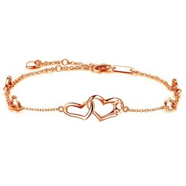 DESIMTION Anklet Sterling Silver Infinity Heart Foot Rose Gold Adjustable Anklets Ankle Bracelets for Women Gift for Mother's Day (D-Rose Gold Heart Anklets)